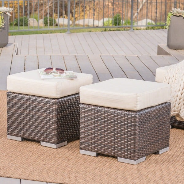 Santa Rosa Outdoor 16 Inch Square Wicker Ottoman With Cushion Set Of 2