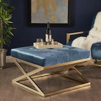 Rayna Modern Square Tufted Velvet Ottoman by Christopher Knight Home