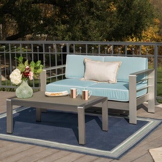Cape Coral Outdoor Aluminum 2-piece Set with Cushions by Christopher Knight Home