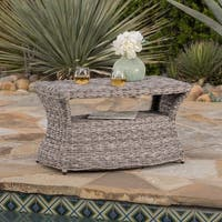 Berkeley Outdoor Aluminum Wicker Side Table with Umbrella Hole by Christopher Knight Home