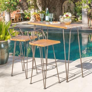 Denali Outdoor Industrial 3-piece Wood Bar Set by Christopher Knight Home