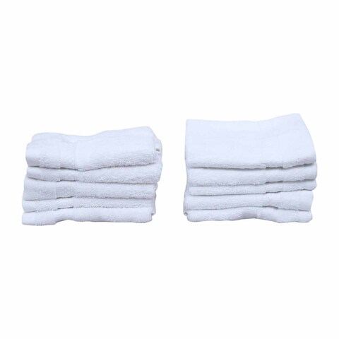Just Linen Luxury Hotel & Spa Towels- 100 % Cotton Soft & Elegant Plush Washcloths, 13 x 13 Inches, White, Set of 10