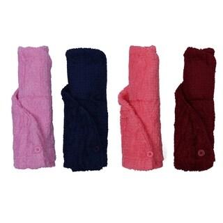 Just Linen Lightweight Cotton Silky Soft Hair Wrap Towels (Set of 2)