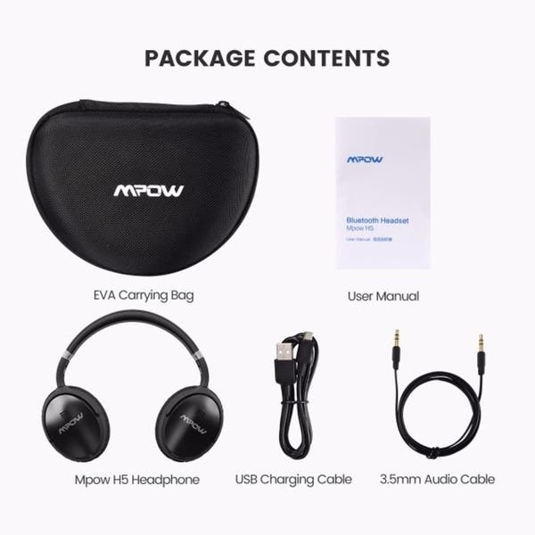 Shop Mpow H5 Active Noise Cancelling Bluetooth Headphones For Pc Cell Phones Tv Overstock 19502113