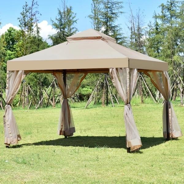 Outdoor 10u0026#x27;x10u0026#x27; Gazebo Canopy Shelter Awning Tent Patio Garden & Outdoor 10u0027x10u0027 Gazebo Canopy Shelter Awning Tent Patio Garden New ...