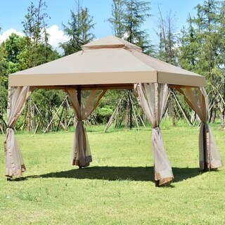 Outdoor 10'x10' Gazebo Canopy Shelter Awning Tent Patio Garden New