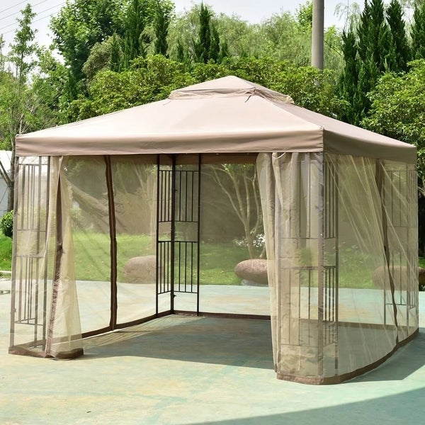 Outdoor 10u0026#x27;x10u0026#x27; Gazebo Canopy Shelter Awning Tent Patio Garden