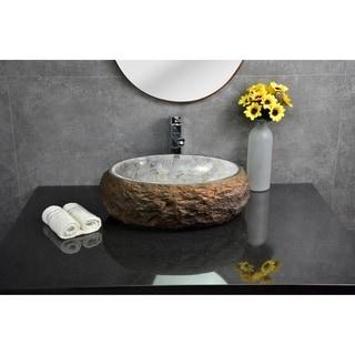 Y-Decor Mason Granite Boulder with Polished Onyx Basin