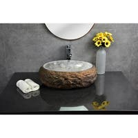 Y-Decor Mason Granite Boulder with Polished Onyx Basin