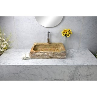 Y-Decor Oliver Brown Travertine Rectangular Sink