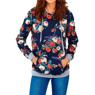 Cupshe Women's Floral Printing Casual Hooded Sweatshirt