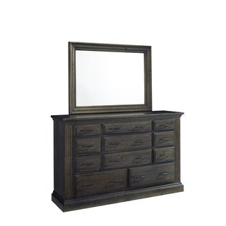 Progressive Fordham Distressed-grey-ash-finished Pinewood and Lightly-burnished Brass 11-drawer Dresser With Glass Mirror