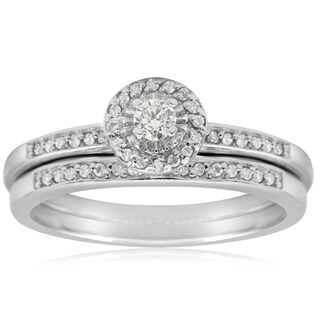 1/4ct TDW Pave Diamond Bridal Set In Sterling Silver (J-K, I1) - White