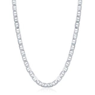La Preciosa Sterling Silver Italian Rhodium Plated 100 4.1mm Flat Marina Chain