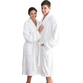 Authentic Hotel Spa Herringbone Weave Turkish Cotton Unisex Bath Robe L-XL Size in Light Grey (As Is Item)