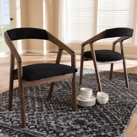 Mid-Century Black Fabric Dining Chair Set by Baxton Studio