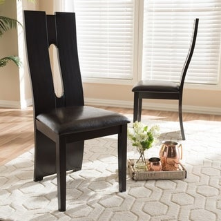 Contemporary Dark Brown Faux Leather Dining Chair Set by Baxton Studio