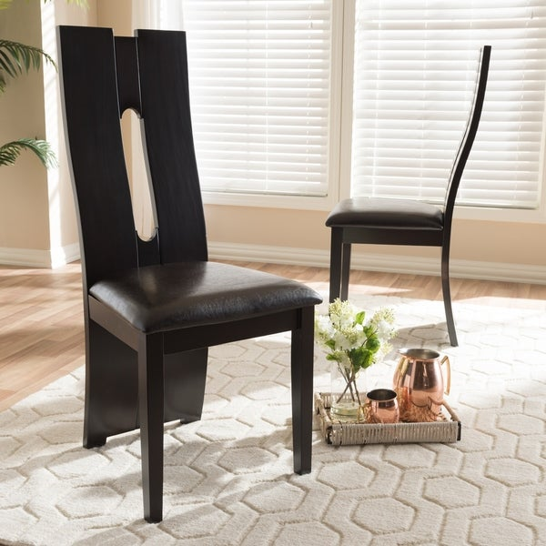 Shop Contemporary Dark Brown Faux Leather Dining Chair Set ...