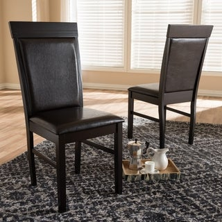 Link to Contemporary Dark Brown Faux Leather Dining Chair Set by Baxton Studio Similar Items in Dining Room & Bar Furniture