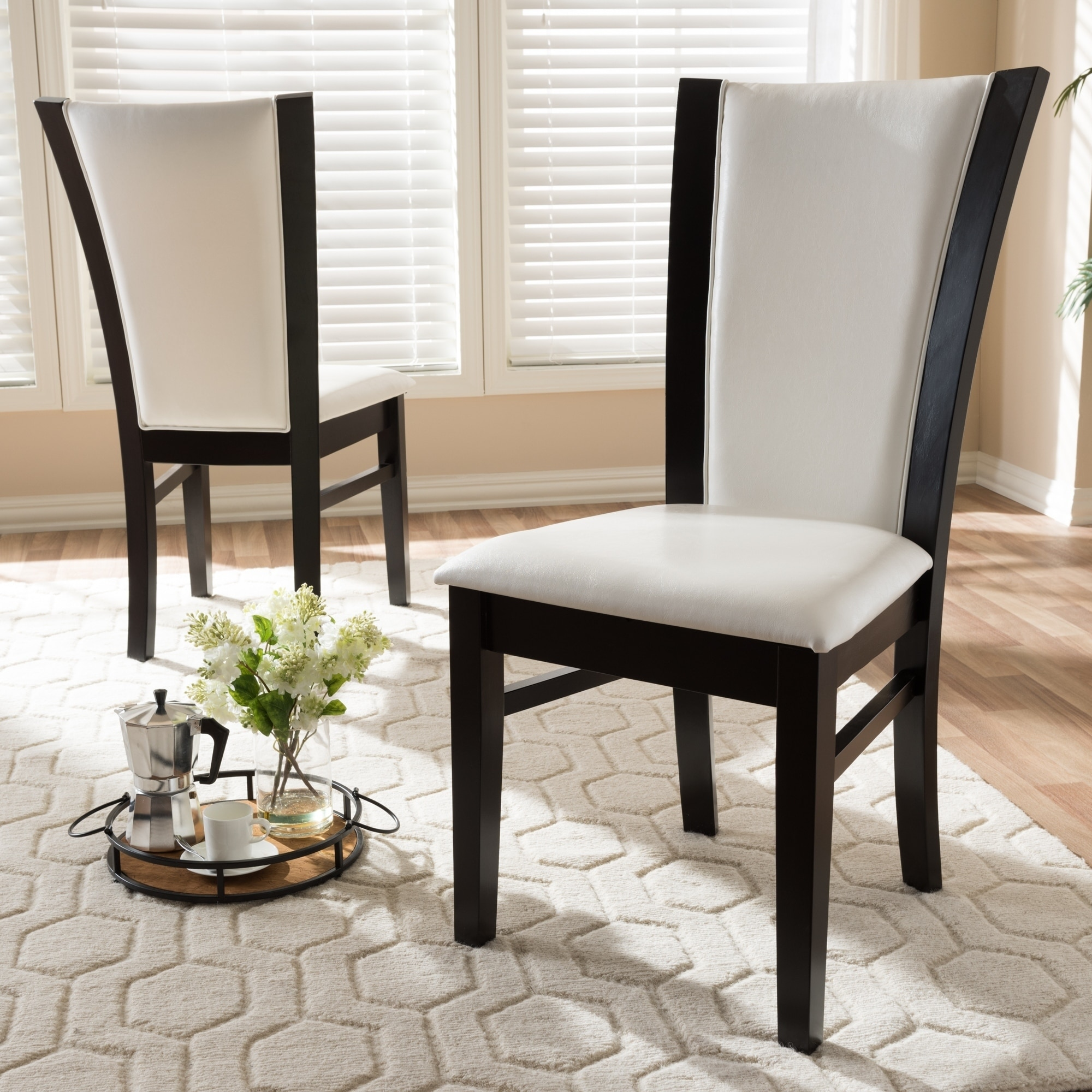 Image of: Shop Black Friday Deals On Contemporary White Faux Leather Dining Chair Set By Baxton Studio Overstock 19502786