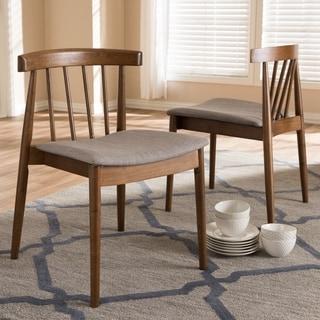 Baxton Studio Wyatt Walnut Rubberwood and Beige Fabric Dining Chairs (Set of 2)