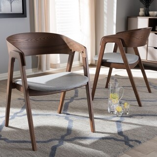 Baxton Studio Mid-century Grey Fabric and Walnut Dining Chair (Set of 2)