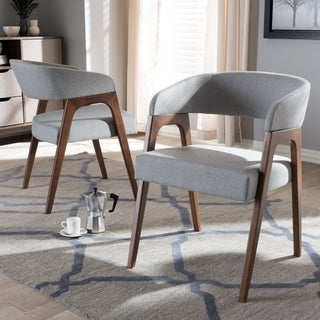Baxton Studio Walnut-finished Wood Mid-century Dining Chairs with Grey Fabric Seats (Set of 2)