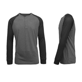 Galaxy By Harvic Men's Long Sleeve Raglan Henley T-Shirt