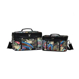 World Traveler Paisley Collection 2-Piece Train Cosmetic Case Set (4 options available)