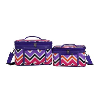 World Traveler Multi Chevron 2-Piece Train Cosmetic Case Set