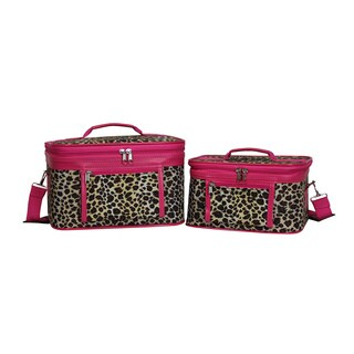 World Traveler Pink Leopard 2-Piece Train Cosmetic Case Set