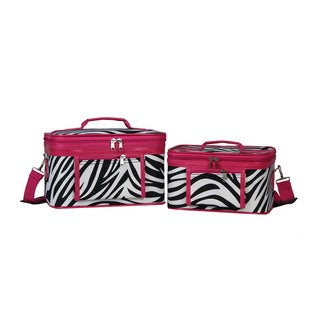 World Traveler Zebra Collection 2-Piece Train Cosmetic Case Set