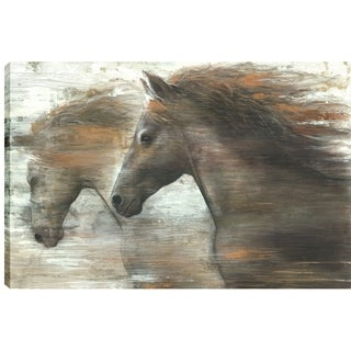 24X36 Horses Running in the Wind, Printed canvas gel coated wall art
