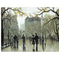 34X46 Ice Skating in the Park,  Printed canvas gel coated wall art