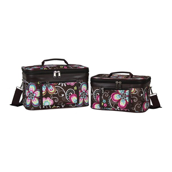 2ac96577388a World Traveler Brown Daisy Collection 2-Piece Train Cosmetic Case Set