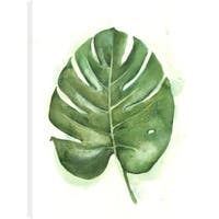 Anastasia C. 'Green Leaf' Printed Canvas Gel Coated Wall Art