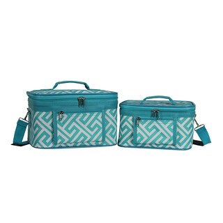 World Traveler Greek Key Collection 2-Piece Train Cosmetic Case Set (3 options available)