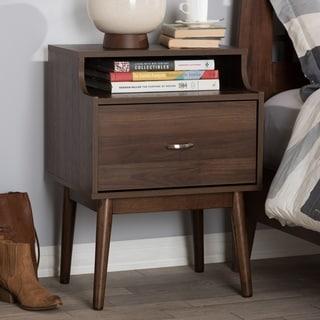 Mid-Century Brown 1-Drawer Nightstand by Baxton Studio