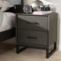 Rustic Grey Wood and Black Metal 2-Drawer Nightstand by Baxton Studio