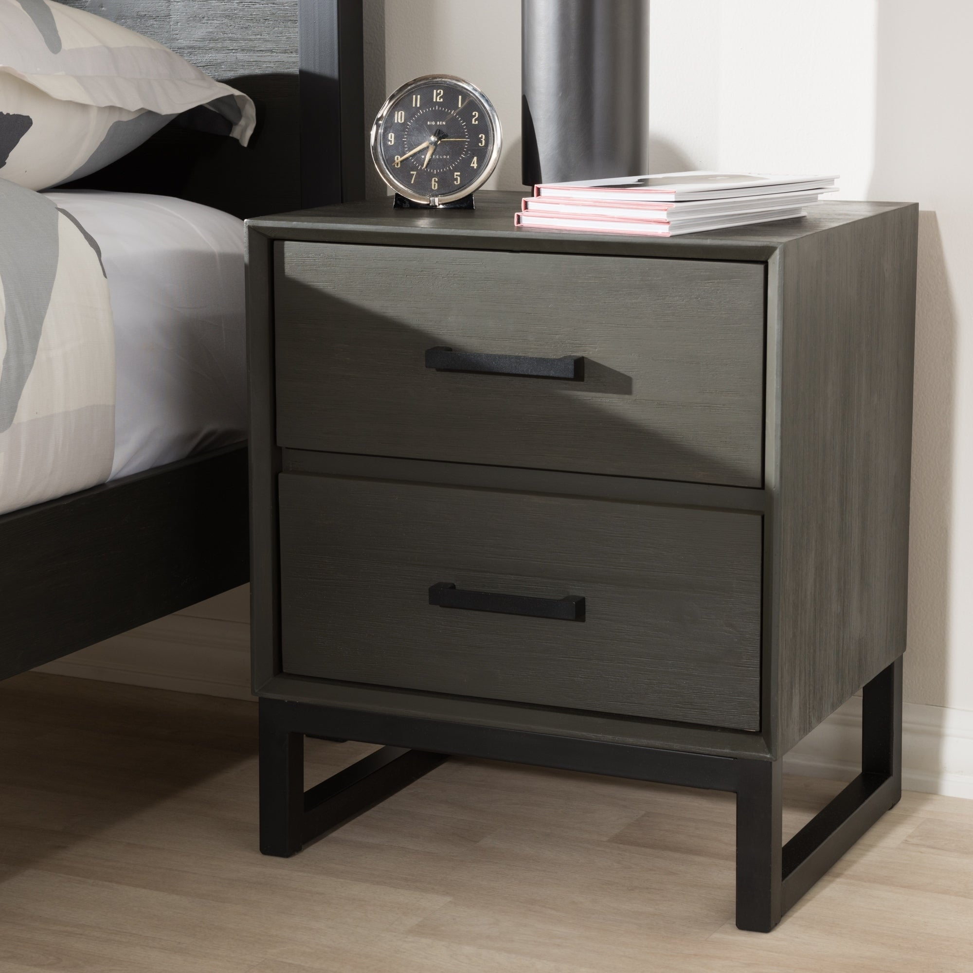 Rustic Grey Wood And Black Metal 2 Drawer Nightstand By Baxton Studio Overstock 19503090