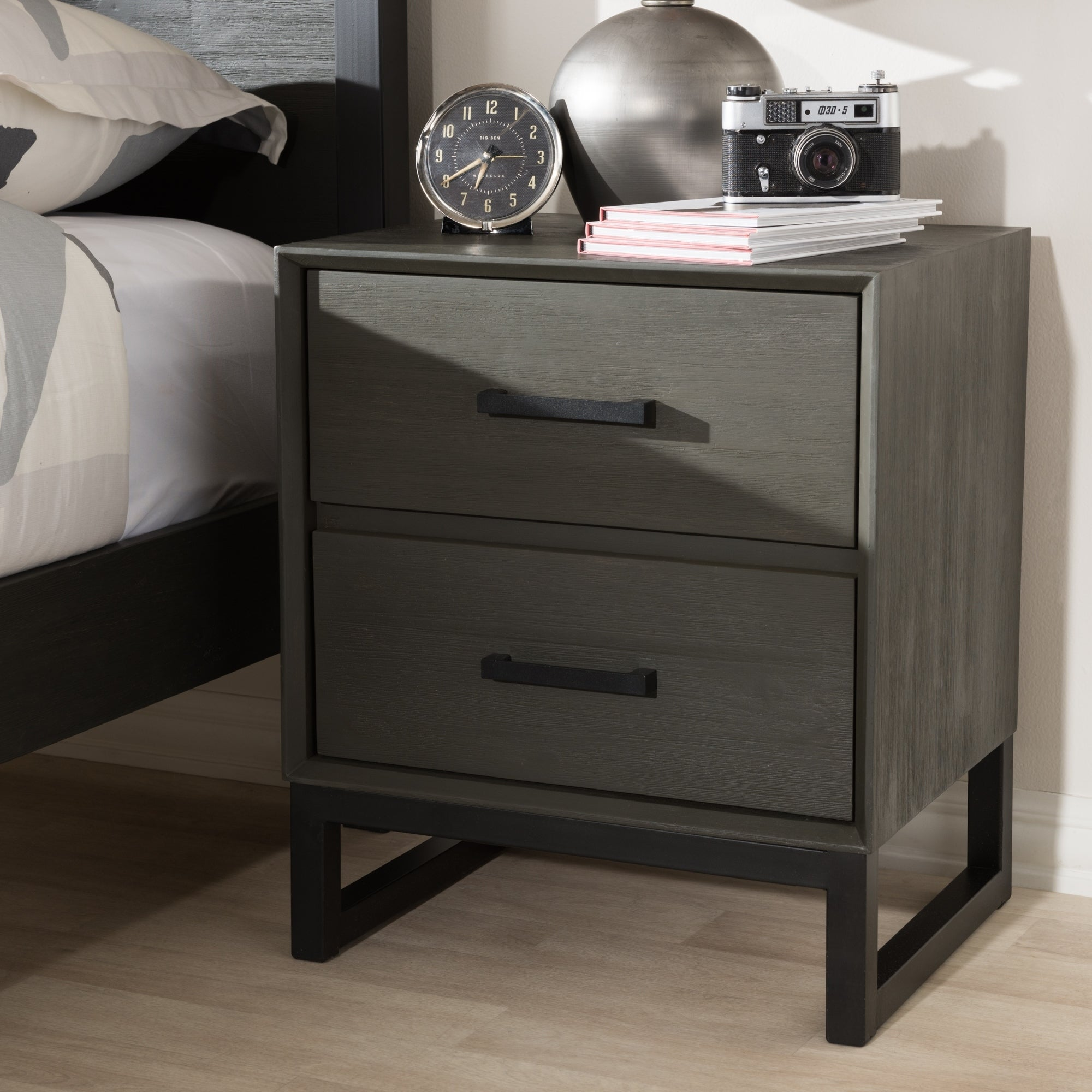 Shop Rustic Grey Wood And Black Metal 2 Drawer Nightstand By