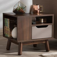 Mid-Century Brown and Grey 1-Drawer Nightstand by Baxton Studio