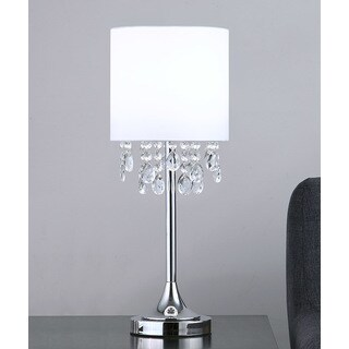 """FLORENCE 22""""H Crystal Pendants Table Lamp, White"""