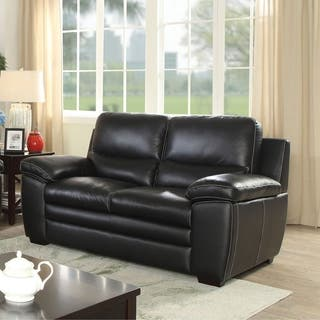 Furniture Of America Lancet Contemporary Black Top Grain Leather Match Loveseat