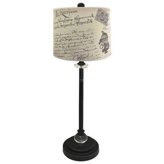 """Royal Designs 28"""" Crystal and Oil Rub Bronze Buffet Lamp with Vintage Letter Caligraphy Design Hard Back Lamp Shade"""