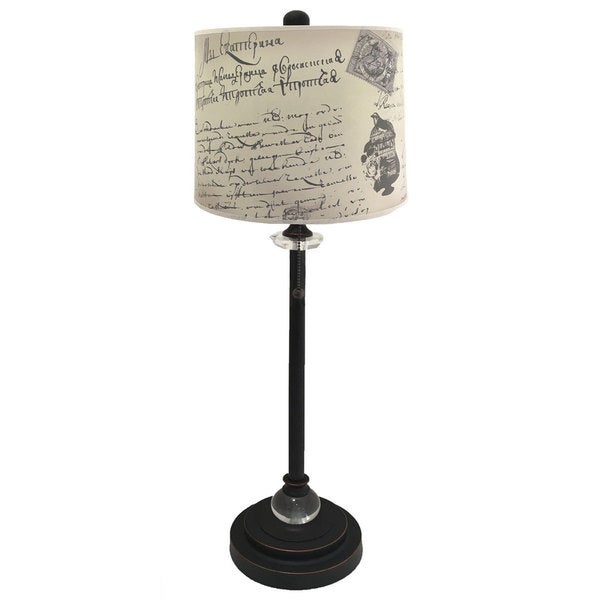 Royal Designs Oil Rub Bronze Lamp with Vintage Caligraphy Lamp Shade
