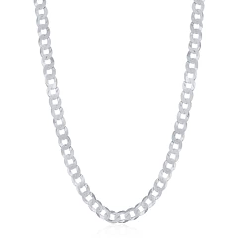 La Preciosa Sterling Silver Italian Rhodium Plated 80 Curb 3.45mm Cuban Chain