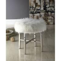 Somette White Faux Fur Round Ottoman
