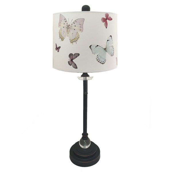 "Royal Designs 28"" Oil Rub Bronze Buffet Lamp with Colorful Butterfly Design Lamp Shade"