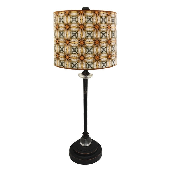 Royal Designs Oil Rub Bronze Lamp with Yellow and Gold Kaleidoscope Design Lamp Shade
